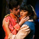 Baker's Wife (El Beh) meets handsome Prince (Jeffrey Brian Adams) in the woods.