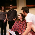 Kate and Douglas (Lauren English*, Patrick Russell*) look on as Izzy and Martin (Natalie Mitchell* and James Wagner*) flirt at Seminar.