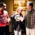 "Mahesh (hired worker) joins Mother (Joy Carlin*) and her new husband, ""Toy boy"" (John Mercer) for lemonade"