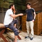 Peter O'Connor (Jasper) offers cigarette to Brian Miskell (Shelmerdine)