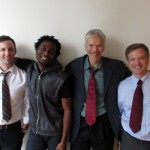 "The Cast of ""From Red to Black"" (Matthew Baldiga, Isiah Thompson, Charles Shaw Robinson*, and Michael Shipley*)."