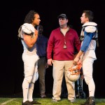 Captains Marcus (Cameron Matthews, left) and Young Mike (Thomas Gorrebeeck*, right) confer with the coach (Dave Maier*).