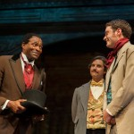Ira Aldridge (Carl Lumbly*, left), meets Covent Garden theatre company members Pierre LaPorte (Patrick Russell*) and Henry Forester (Devin O'Brien) after arriving to play the role of Othello.