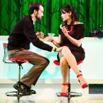 Joe (Kyle Cameron) and Kelly (Liz Sklar) meet at the bar to discuss Joe's wedding plans.