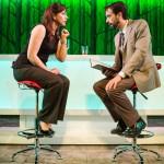 Susan (Marissa Keltie) and Joe (Kyle Cameron) discuss their wedding plans at the bar.