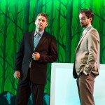 Dennis (Patrick Russell) and Joe (Kyle Cameron)  lament the implications of making a bad pitch.
