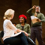 She (Carrie Paff*), Millie (Taylor Iman Jones), and the Husband (Michael Gene Sullivan*) rehearse a scene from 'The Last Kiss'.