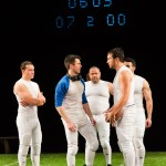 The football team taunts the dancer, young Mike (Thomas Gorrebeeck*, blue sleeves). Players, L-R: Xander Ritchey, Travis Santell Rowland, Jacob Hsieh, Ed Berkeley).