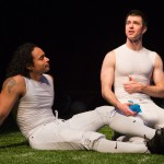 Marcus (Cameron Matthews) and young Mike (Thomas Gorrebeeck*) compare injuries on the football field.