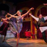 Dancers (L-R: Ayelet Firstenberg, Leah Shesky, Joseph Estlack*) dance in the restaurant.